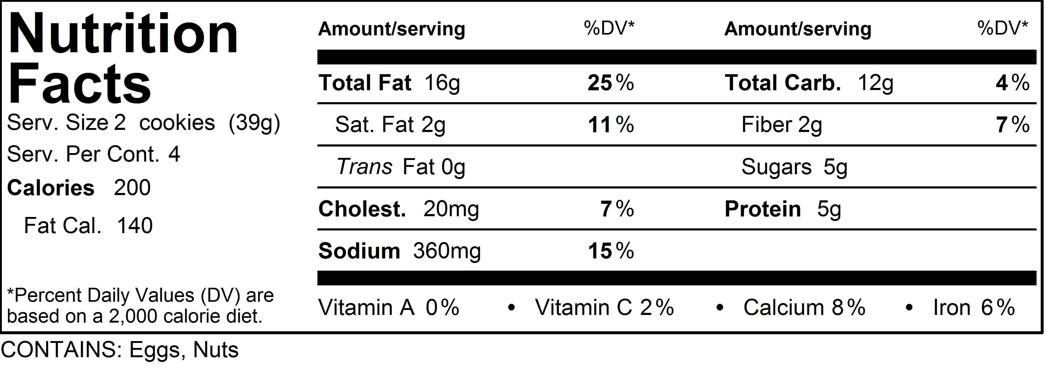 Nutrition Facts  Chocolate Chip Cookie